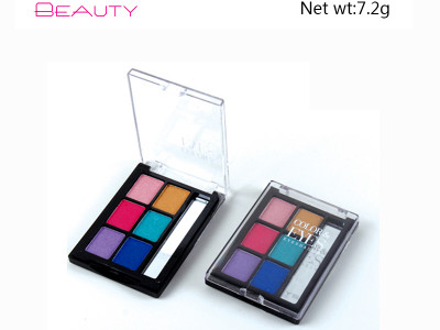 6 colors eyeshadow pallete with mirror private label ES122