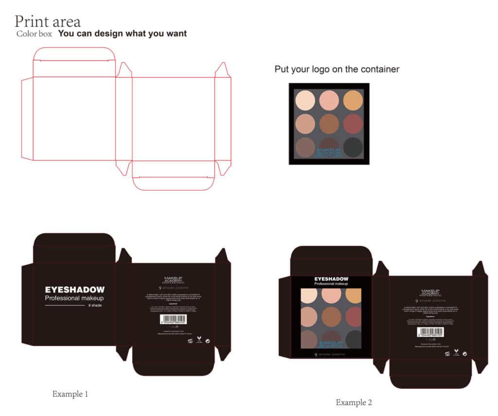 Private label makeup 9 colors eyeshadow palette