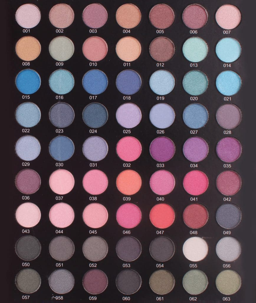 Eyeshadow Shimmer-chart HEB 001-063