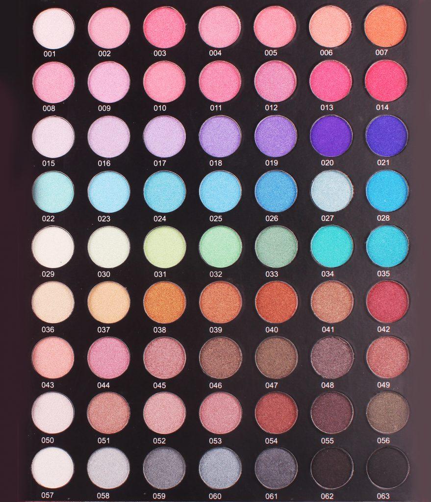 Eyeshadow color sheet