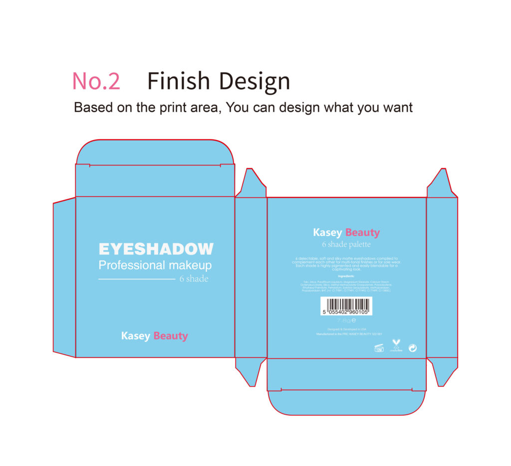 Private label cosmetics eyeshadow paper box Print area new